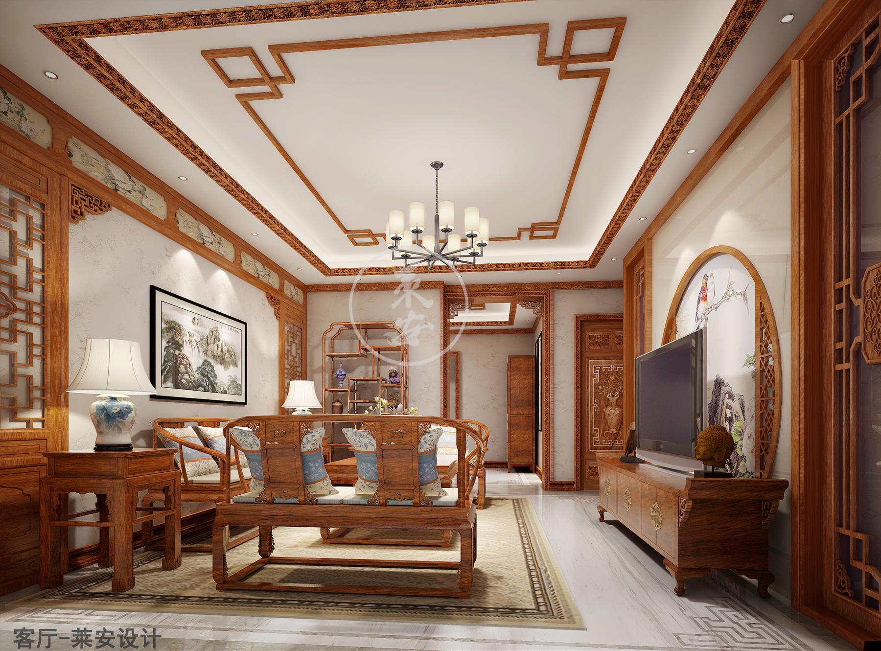 与诗意比邻而居,同风雅形影相依,缅甸花梨中式装修带图片