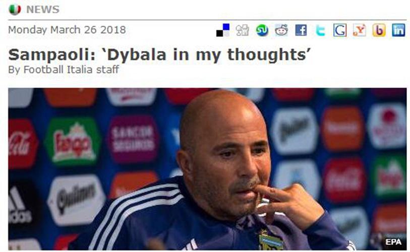 桑保利暗示二弟基本无缘世界杯「迪巴拉」 迪巴拉大有希望<¨世界杯>