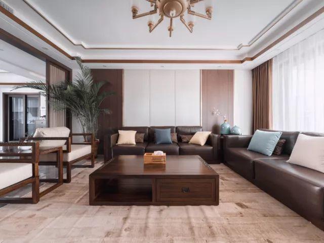 武汉210平中式风格装修:胡桃木饰面香槟金线条空间 厚重而不沉闷图片