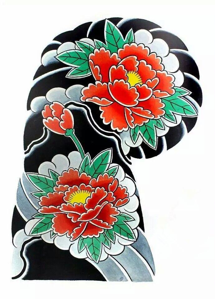 传统日式半甲纹身手稿