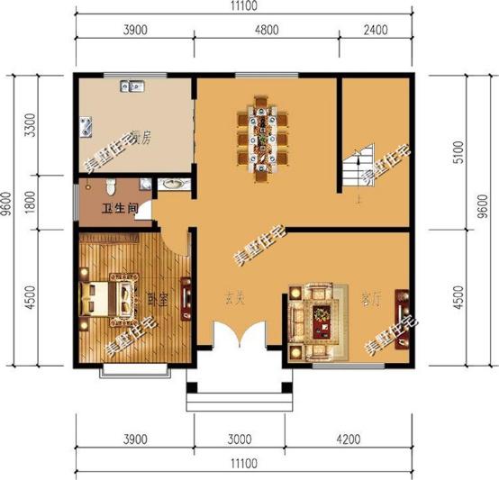 这是房子一楼的设计图,两房两厅,一进大门右手边就有一个房间,方便进图片