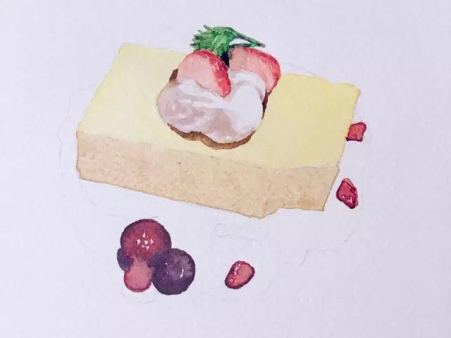 教程| 用水彩画超诱人的草莓芝士蛋糕