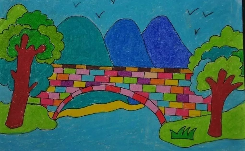 美丽春天儿童画作品一起来动手吧