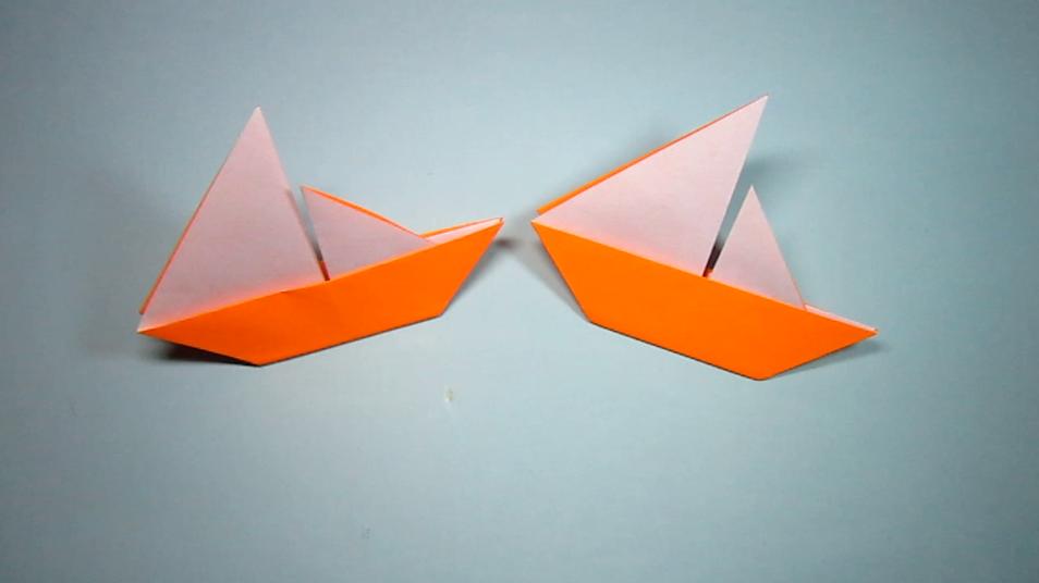 1分钟学会带帆的小船折法,简单的帆船手工折纸教程