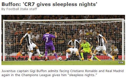 布冯:面对C罗比赛前会失眠皇马不会一直赢球