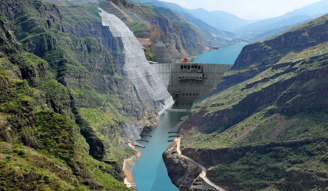 白鹤滩水电站下游鸟瞰图图片