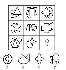 直接通过题干并不能十分直观的分析出规律,但同时观察选项就会发现每一个图形都是由两个小图形组成,组成比较相似,而且bcd三个选项都有一个椭圆压在另一个图形上方,再看题干会发现给出的八个图形都是直线图形压着曲线图形