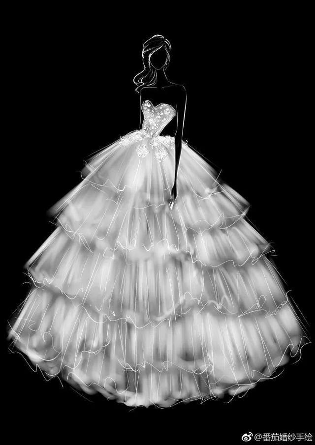 博咖分享:6张超仙婚纱裙手绘图,又想骗我结婚了