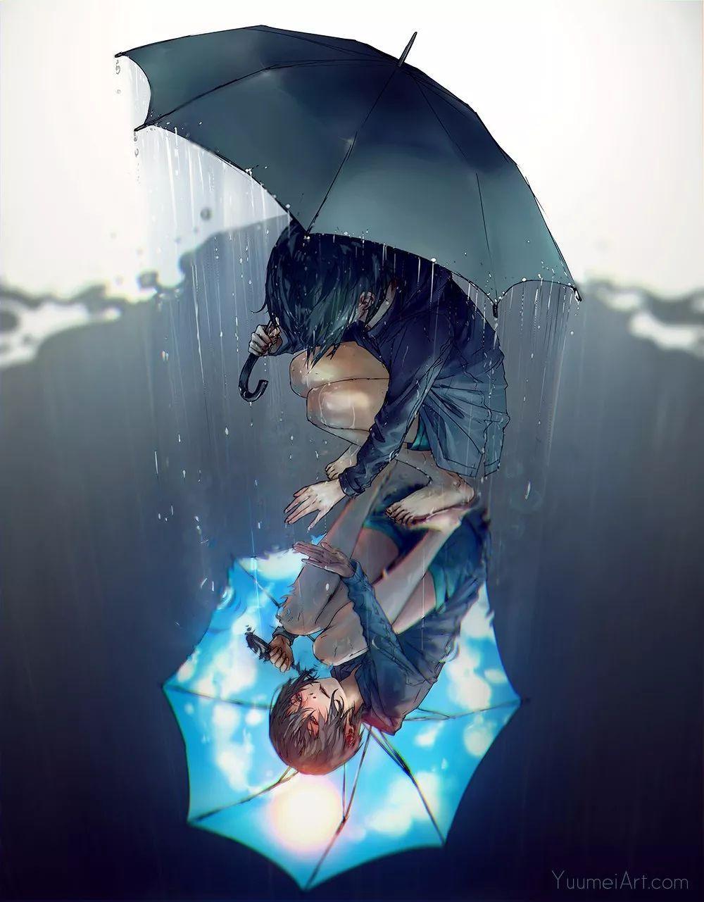 动漫人物壁纸 · 雨天