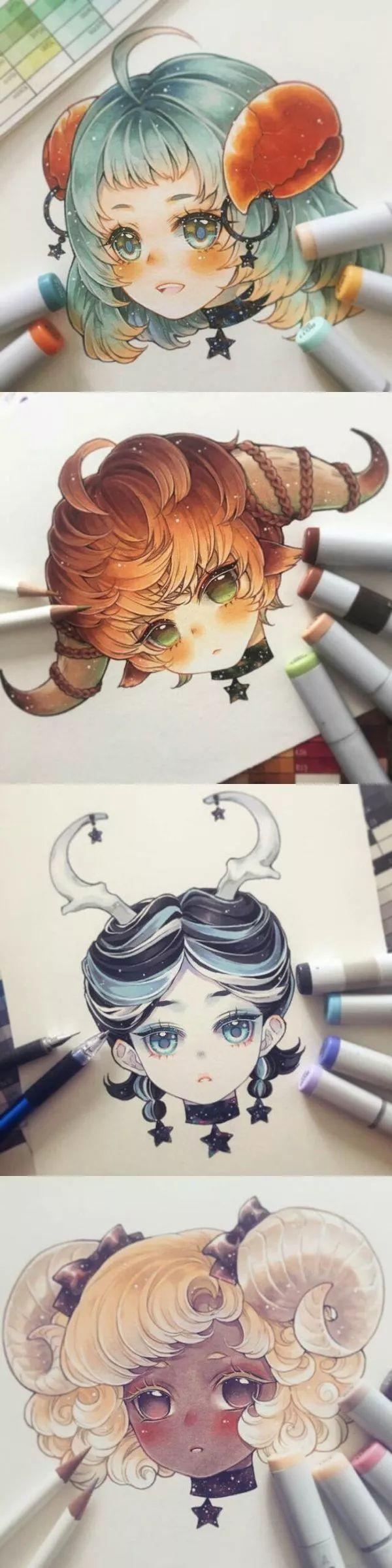 q版卡通-插画师马克笔手绘十二星座