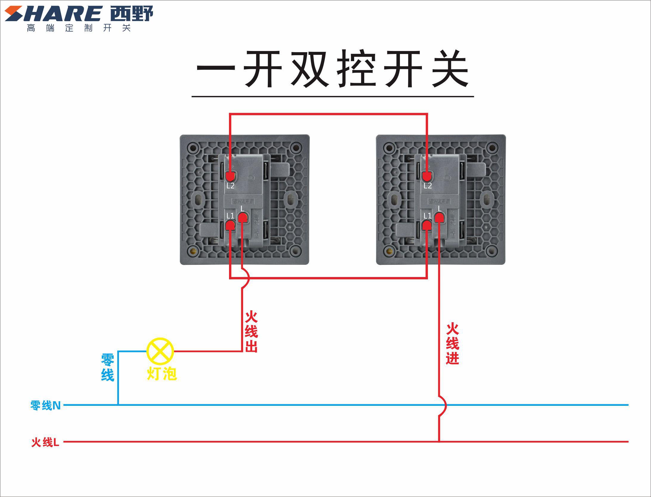 西野开关插座接线图,墙壁开关实物接线图