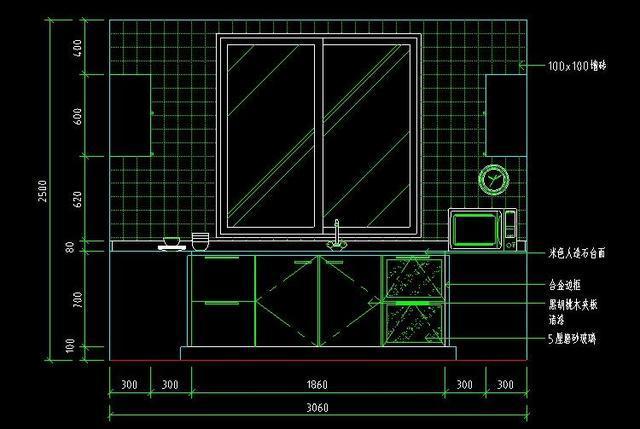 下面给大家考察迅捷cad报告中的一套cad室内厨房装修设计施工图立面零食包装设计分享图库图片