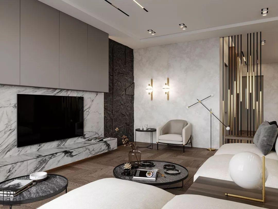 时尚 正文  原木木地板和大理石的电视背景墙,隔断是以最简单的线条