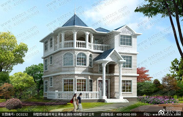 复式别墅设计_漂亮的欧式风格三层复式别墅设计效果图