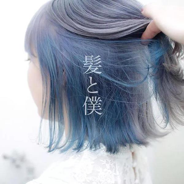 像将短发外层染上今年流行的雾面灰色染发,里层再挑染上彩虹色染发,几图片