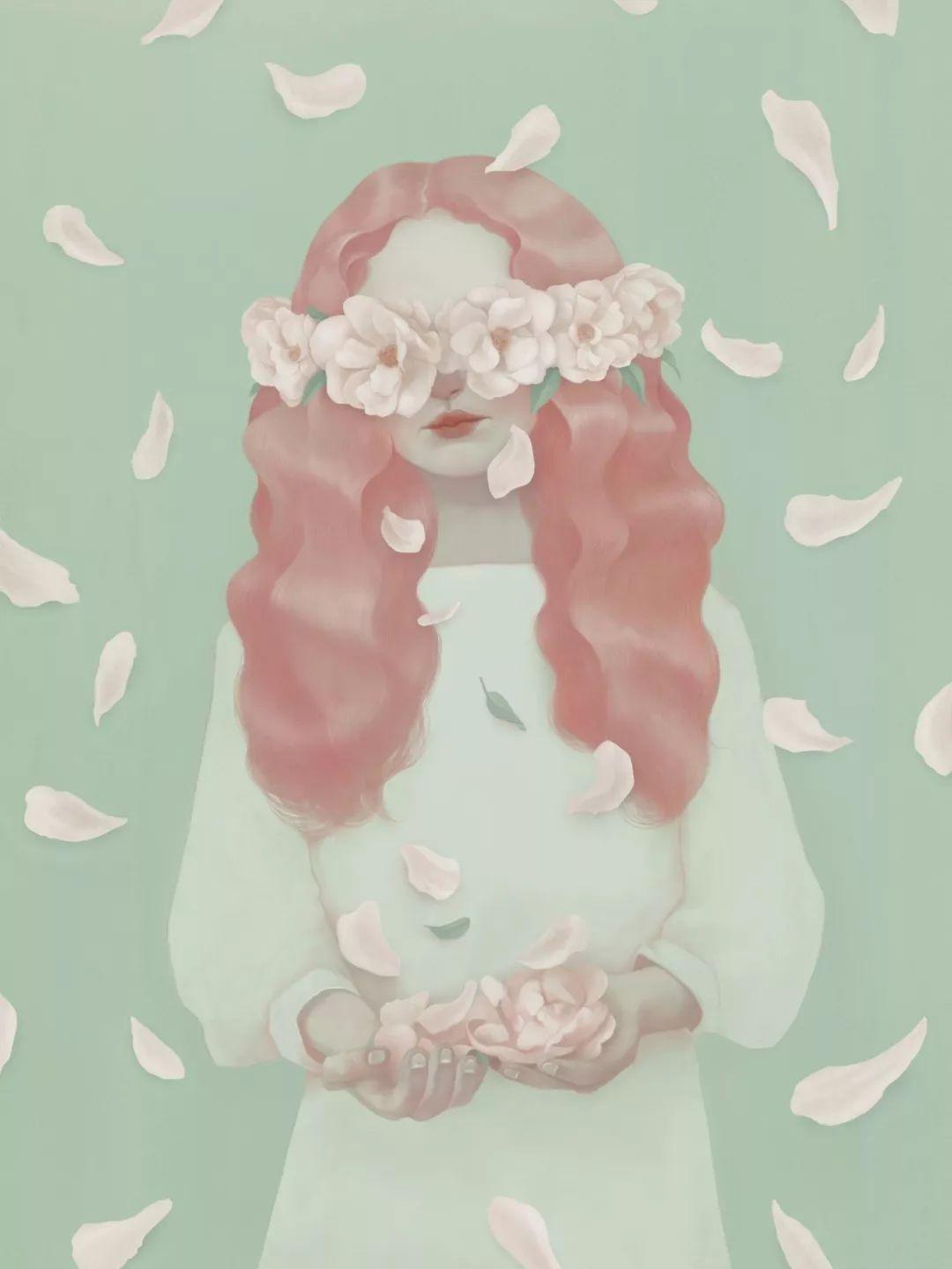 花遮嘴女生头像手绘