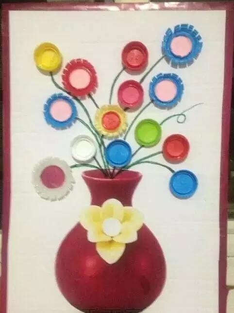 幼儿园瓶盖创意画欣赏