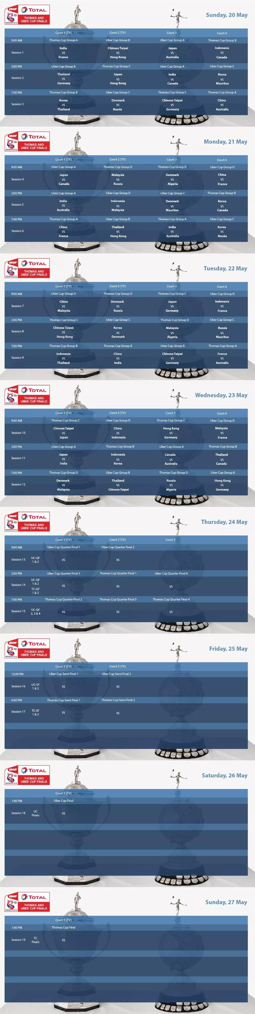 2018汤尤杯赛程表 比赛时间安排一览表