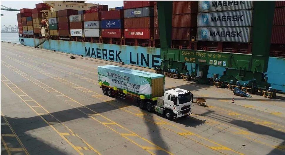 全球首台无人驾驶电动卡车天津港试运营