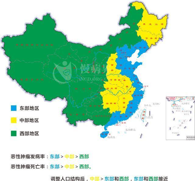 """2018中国""""癌势力""""地区划分图"""