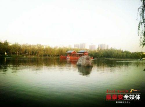 泰安南湖公园景色秀丽引市民游玩