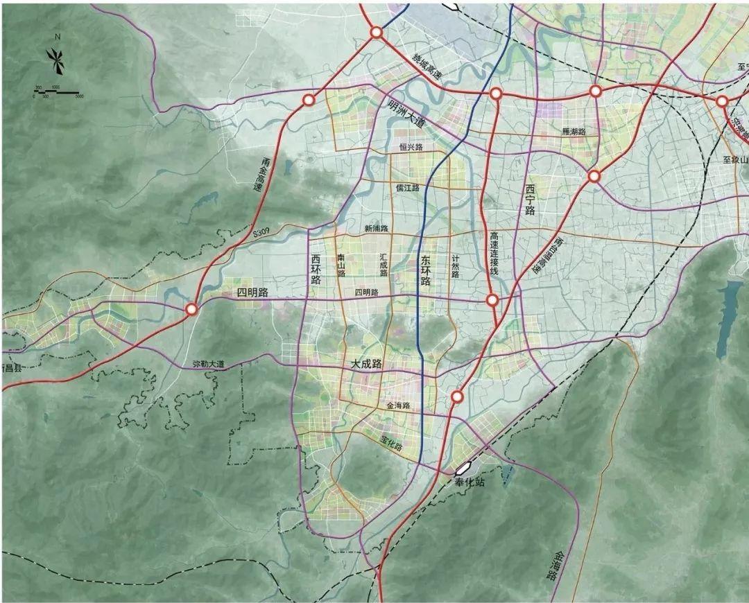奉化鄞南地区道路交通规划图 干线骨架规划三横三纵的干线路网。三横为3条东西向的干线性主干路,包括明州大道、四明大道,弥勒大道;三纵为东环路按照快速路建设,西环路和西宁路为干线性主干路。 来源:东南商报(宁波晚报 记者 周科娜、NB新房客(NBxinfangke)) - END -