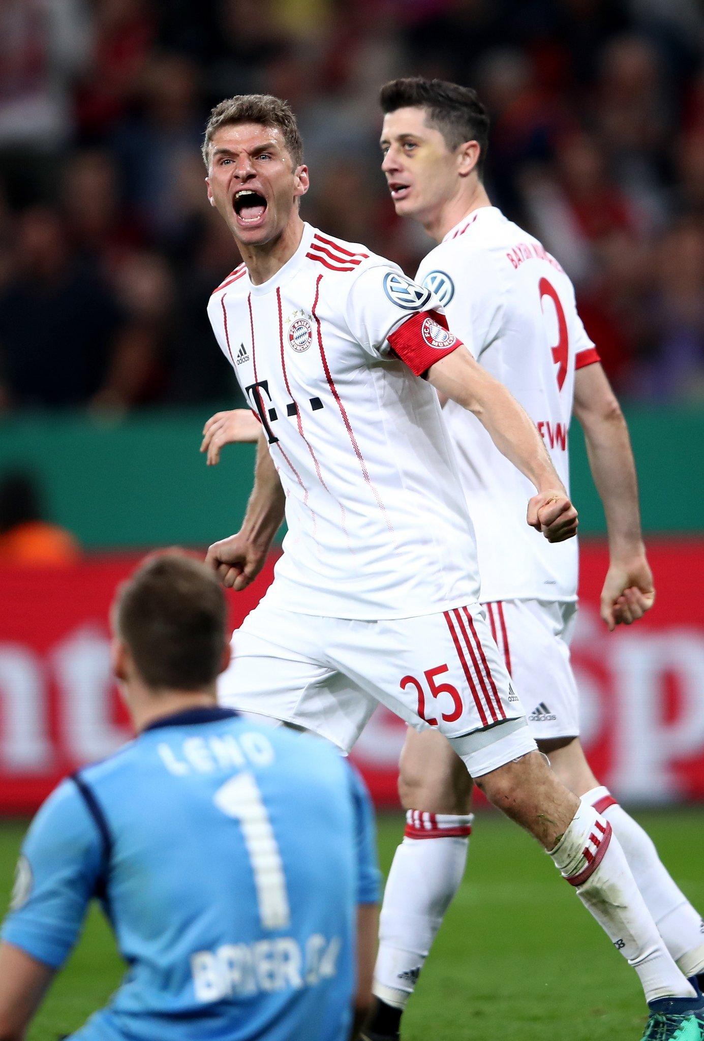 德国杯-蒂亚戈传射穆勒大三元 拜仁6-2晋级决赛