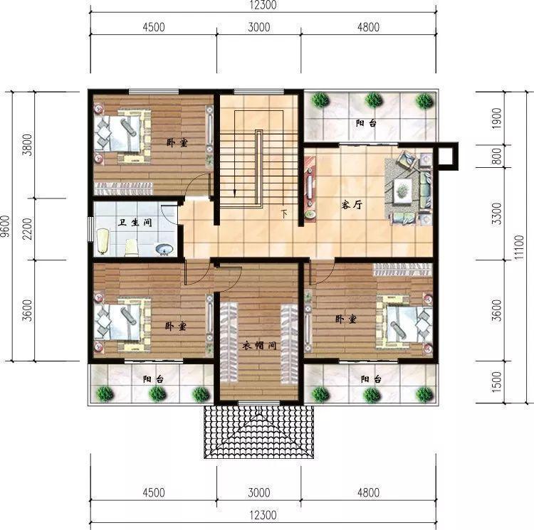 设计有堂屋放置神位,二层共6间卧室,足哆农村一般的家庭人口居住了图片