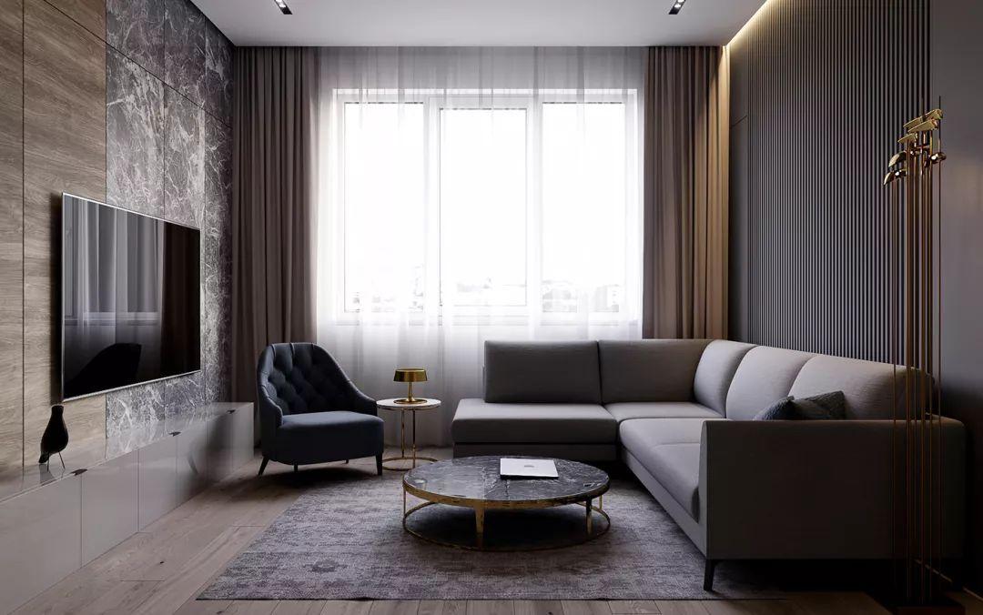 选用大理石搭配木板作为电视背景墙 摆放在灰色的毯子上造型感十足 浅
