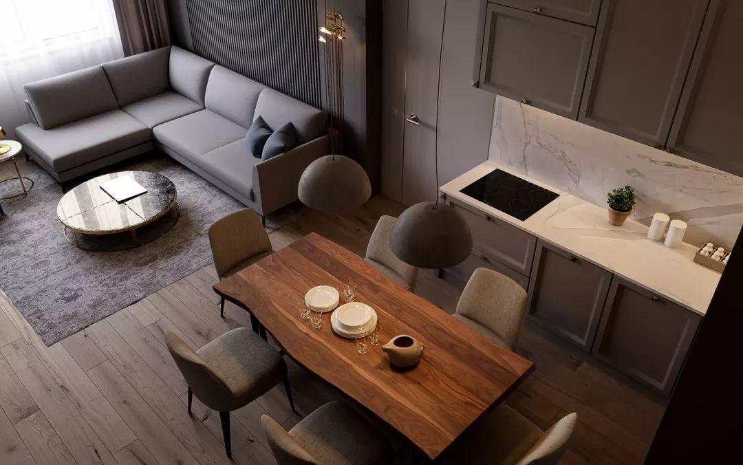 正文  选用大理石搭配木板作为电视背景墙 摆放在灰色的毯子上造型感
