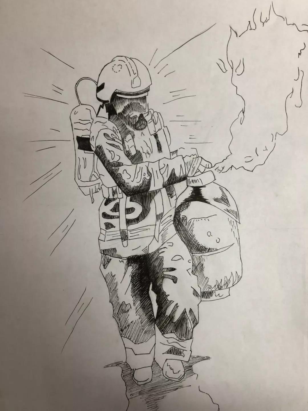 """将自己对消防的感知理解用生动的文字及绘画展现出来, 描绘火中""""逆行"""