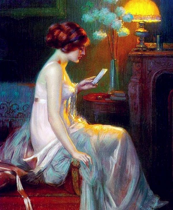 油画里灯光下如梦如幻的智慧女性欣赏