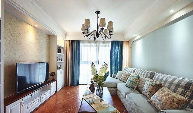 沃德邯郸家装修效果图-美的风格城115平米美式案例装修设计时代v风格客厅吊顶一般是吊的多少图片