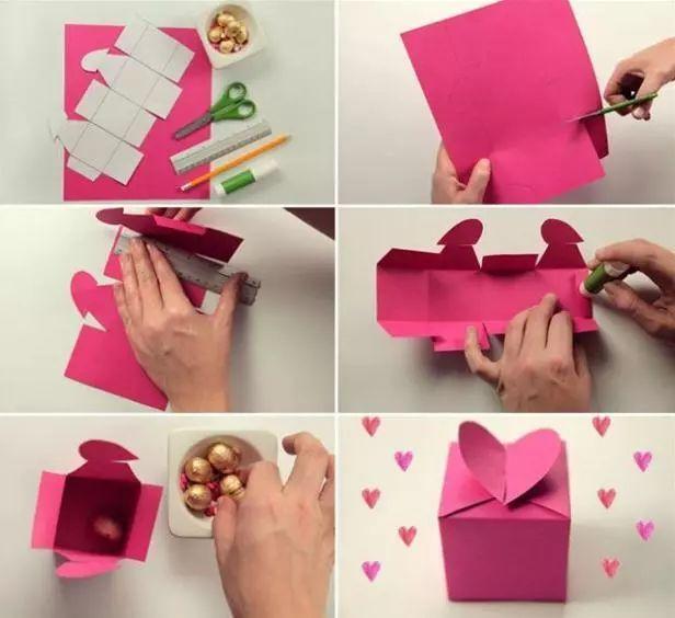 卡纸,模板,剪刀,直尺,固体胶,铅笔 制作步骤图解: 折纸玫瑰花礼盒 接