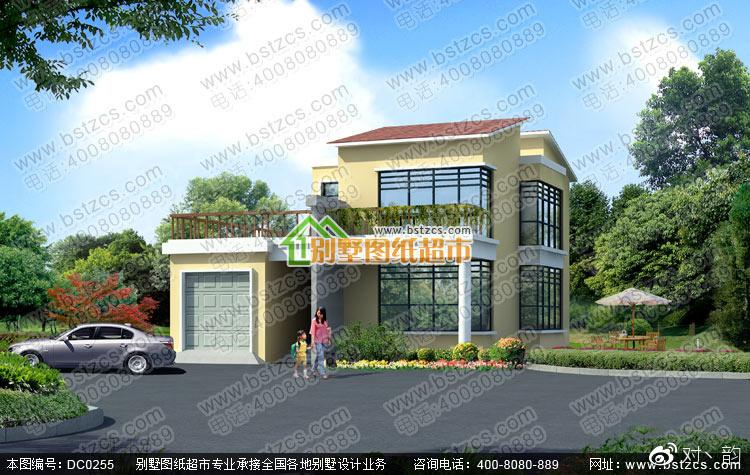 现代风格别墅设计_二层带车库现代风格小别墅设计效果