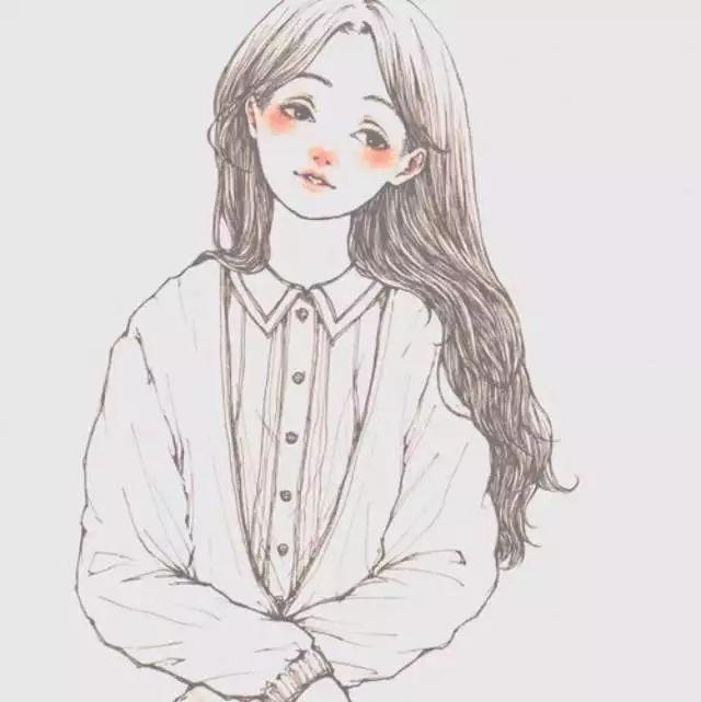 女生超美侧脸手绘