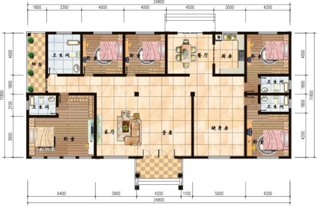 普通五间平房设计图
