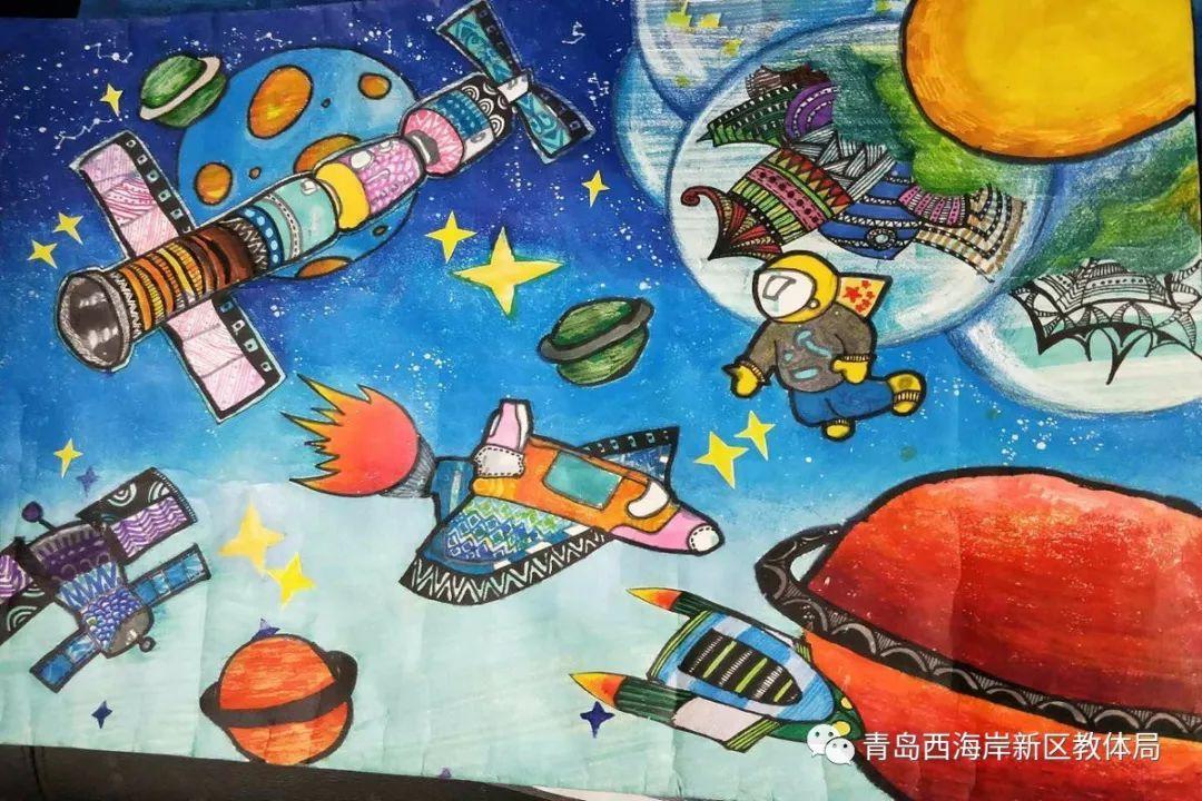 全国小学组优秀奖  其他优秀参赛作品欣赏 丁卓越《遨游太空》图片