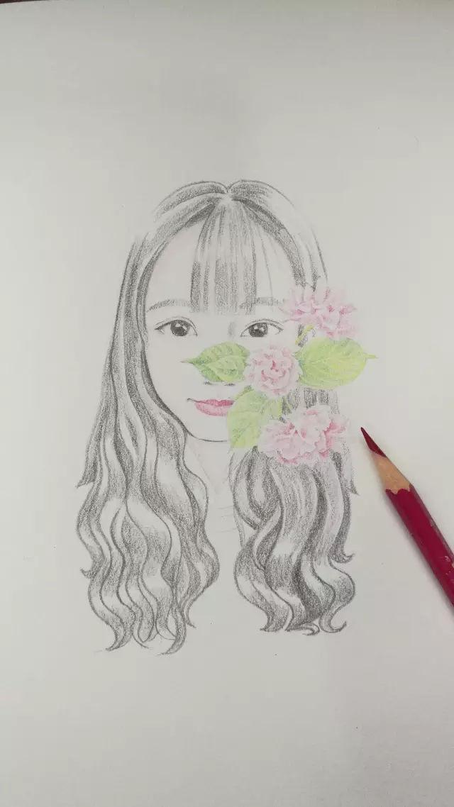彩铅教程 | 花与少女