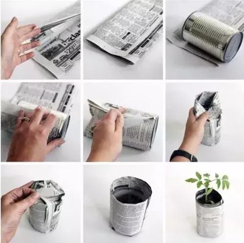 家里无用的奶粉罐不要扔了,用它围上一层旧报纸,一个简单实用的花盆就