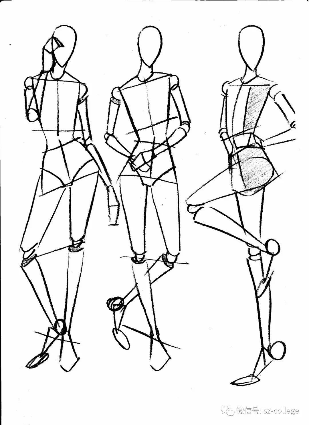 服装人体_动态服装人体线稿提炼