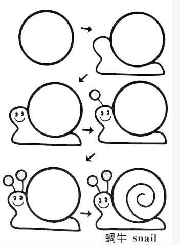简笔画简单画 正方形简笔画43 蜗牛 贝壳 兔子