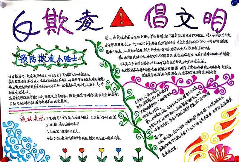 """青岛艺术学校""""反欺凌,倡文明""""手抄报作品展图片"""