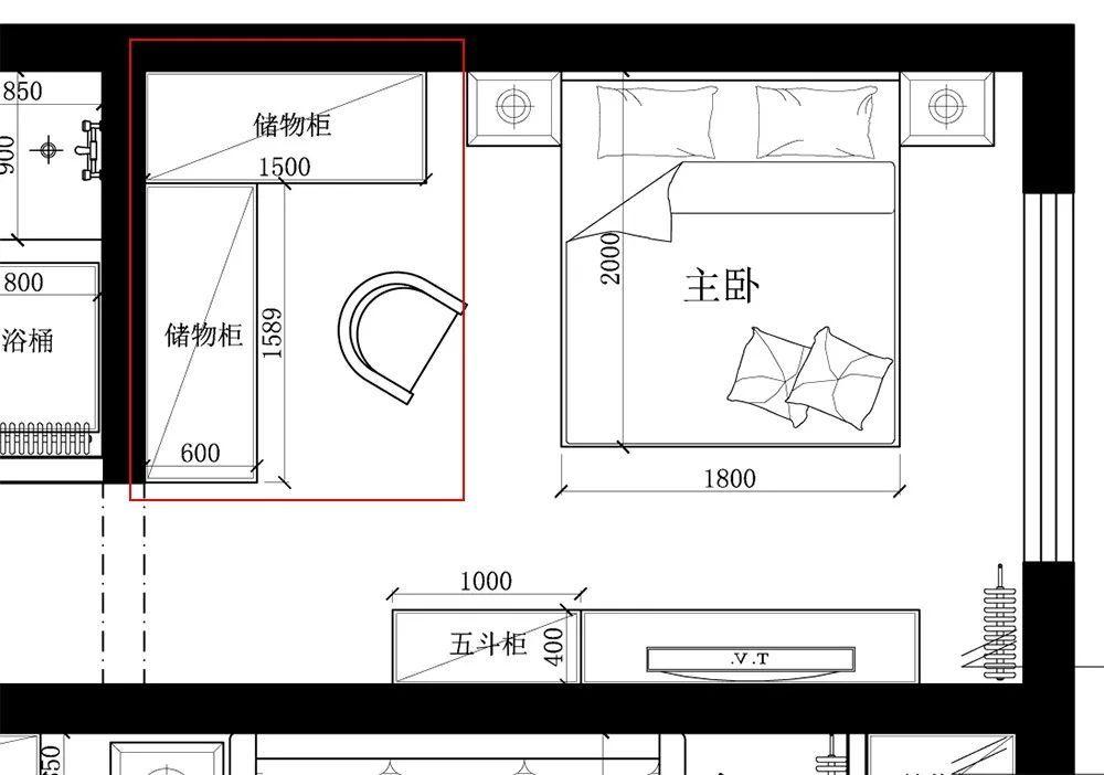卧室设计了l型储物柜,满足业主夫妻日常衣物及被子床单等床上用品的储图片