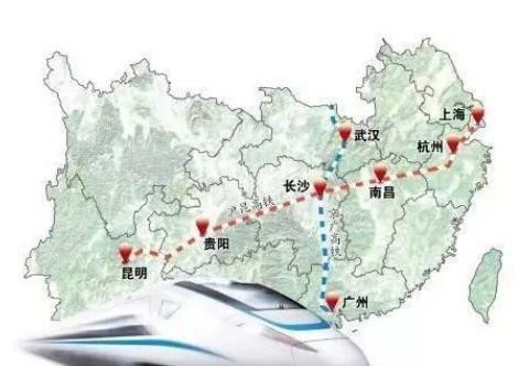 沪昆高铁路线图图片