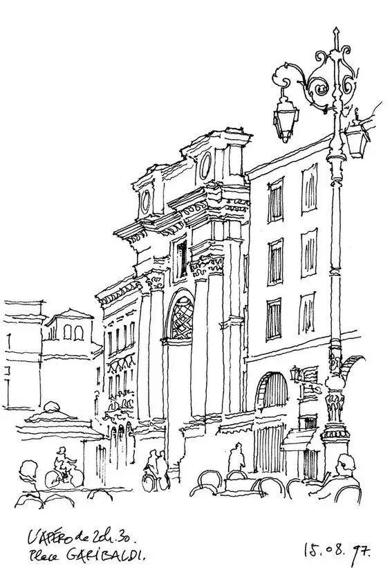有钢笔画,铅笔画,水彩画,彩铅画,主要以欧式建筑写生为主,包括一些