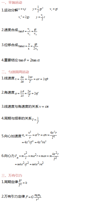 高中物理必修2公式大全及曲线运动测试卷(附有