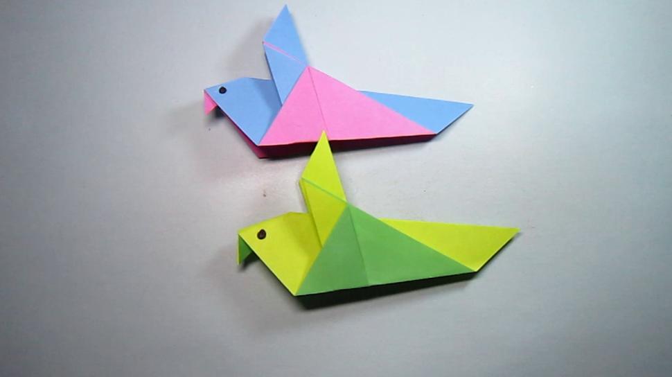 一张纸2分钟折纸小鸽子,简单又漂亮的小鸽子折纸