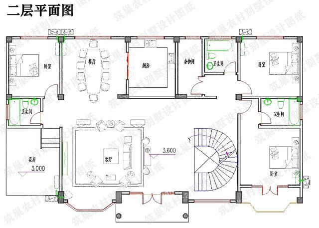 晒刚建好的房子:35万2厅6室7卫二层带花房锅炉房自建别墅设计图图片