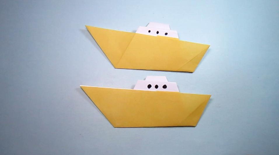 儿童手工折纸轮渡,2分钟学会小轮渡的折法,折纸船